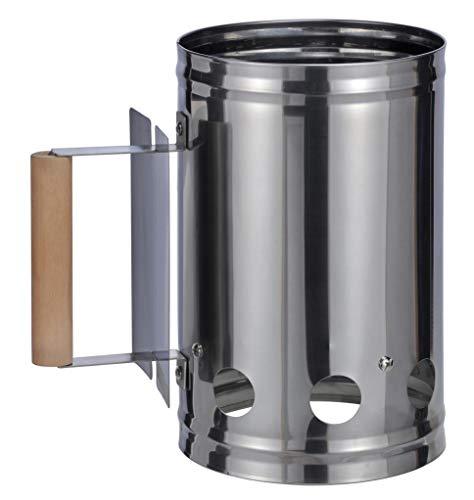 Bambelaa! Allume-Charbon avec poignée en Bois - pour Barbecue - Argent Noir - Environ 17 x 27 x 27 cm argenté