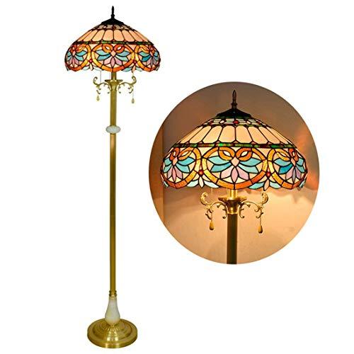 DALUXE Lámpara de Estilo Barroco Tiffany, lámpara de pie Vintage Sala de Estar, Luz E27-3, Lámpara de pie de Mesa de Escritorio de 16 Pulgadas de Ancho
