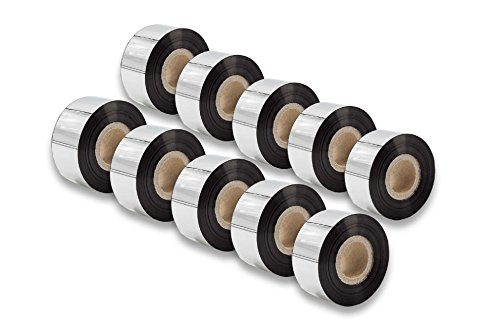 vhbw 10x Foglio Termico Nastro a Trasferimento Termico Nero 30mm per Fax Stampante Printronix T4M, T5204, T5206, T5208, T5306, T5308