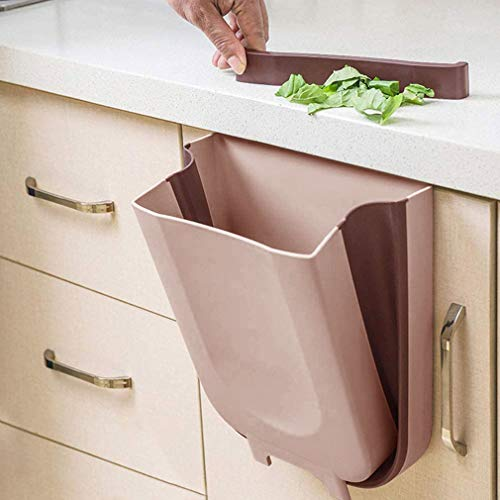 KINLO Hängender Mülleimer Küche Faltbare, Kunststoff (PP) BPA-frei, 10 L Multifunktionaler Küchenabfalleimer Abfalleimer für Schranktür, Auto, Schlafzimmer, Badezimmer und Büro (Braun)