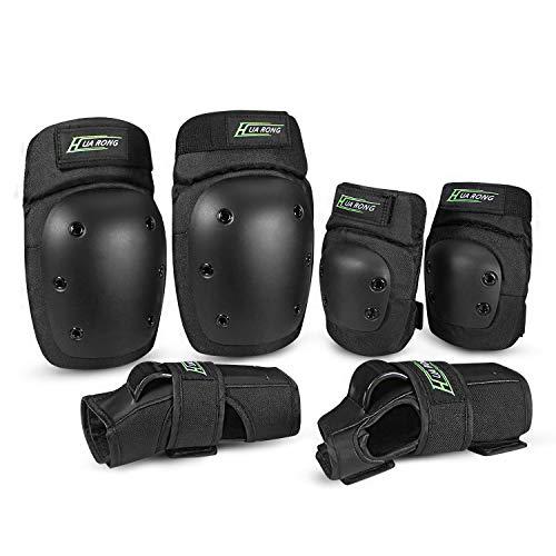 Everwell Protektoren Set, 6 in 1 Profi Schutzausrüstung für Kinder & Erwachsene - Verstellbar Knieschoner Ellenbogenschützer Handgelenkschoner für Inliner Skaten Roller Skateboard.