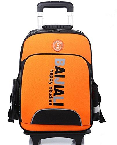 YAAGLE Sicherheit Teleskopgriff Kinder Rucksack Trolley-Tasche Mehrfarbig Damen und Herren Unisex 1-6 Klasse Schulrucksack Reisetasche-orange