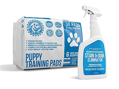 Bulldogology Premium Puppy Pee Pads with Adhesive Sticky Tape and Pet Stain & Odor Remover Ultimate Bundle (Large 24x24, 32 oz)