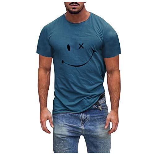 Goosuny Top Girocollo Casual Sportivo a Maniche Corte da Uomo con Stampa Faccina Sorridente Maglia a Manica Corta Maglietta Leggero Asciugatura Rapida Sportiva Camicie T-Shirt