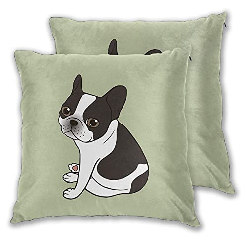 Say Hello to The Cute Double Hooded Pied French Bulldog Pillow Covers, Square Throw Set of 2 Cushion Case, for Sofa Bed Chair Car Home Decor 18x18 Inch