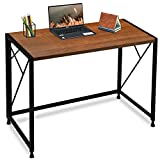 ComHoma Writing Computer Desk Office Folding Table Modern Simple Work Study Desk Industrial Style PC Laptop Table for Home Office, No Assembly Required, Brown