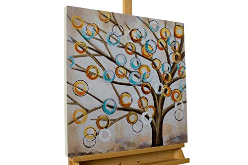 KunstLoft® Acryl Gemälde 'Von AST zu AST' 60x60cm   original handgemalte Leinwand Bilder XXL   Modern Baum Kreise Bunt Braun   Wandbild Acrylbild Moderne Kunst einteilig mit Rahmen