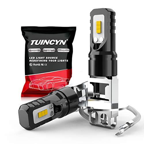 TUINCYN H3 Bombillas LED de luz antiniebla 6500K 1600LM Chips CSP blancos DRL Luces de circulación diurna Lámpara de luz antiniebla 40W Alta potencia 12V-24V DC (paquete de 2)