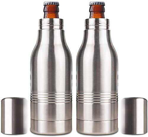 Beer Bottle Insulator, Stainless Steel Beer Bottle Insulator (2 Pack) Keeps Beer Colder With Opener/Beer Bottle Holder For Outdoor or Party