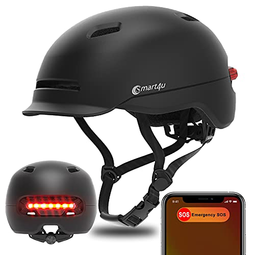 Smart4u SH50U Adult Bike Helmet with LED Rear Light and Automatic Brake Light, with SOS Alarm Function, Suitable for Men and Women in Commuting, Mountain or Road Cycling use