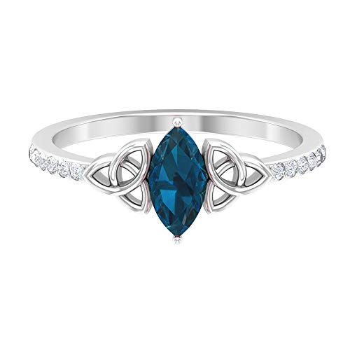 8X4 MM Marquise Cut London Blue Topaz Ring, HI-SI Diamond Ring, Side Stone Engagement Ring, Gold Celtic Knot Ring (AAA Quality), 14K White Gold, Size:US 5.5