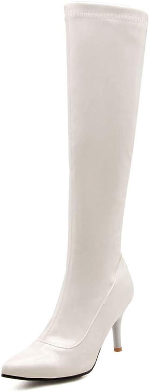 JOYBI Women Thin High Heels Knee-high Boots Non Slip Comfort Sexy Zipper Patent Leather Pointed Toe Boot
