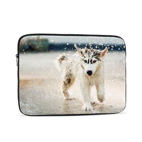 Funda para portátil 10 Pulgadas Lindo Cachorro de Husky Siberiano Corriendo bajo la Lluvia Funda para portátil/portátil Funda de Bolsillo para Ordenador/maletín para Tableta Bolsa de Transporte