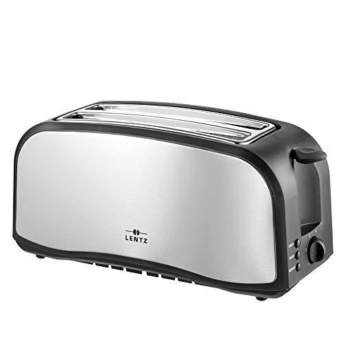 LENTZ 4-Scheiben Langschlitztoaster 1400 Watt Toaster mit Brötchenaufsatz Krümelschublade Cool-Touch-Gehäuse Stopp-, Auftau- und Aufwärmfunktion