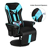 G-ROCKER King Throne Video Gaming Recliner Chair, Ergonomic High Back Swivel Reclining Chair with Bluetooth Speakers, Massage Lumbar Support, Backrest, Footrest, Headrest and Cupholder, Black Blue