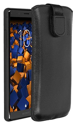 mumbi Echt Ledertasche kompatibel mit Sony Xperia XZ2 Compact Hülle Leder Tasche Hülle Wallet, schwarz