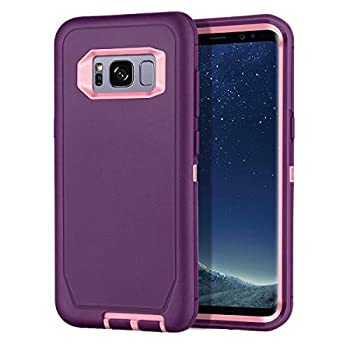 I-HONVA for Galaxy S8 Case Shockproof Dust/Drop Proof 3-Layer Full Body Protection [Without Screen Protector] Rugged Heavy Duty Durable Cover Case for Samsung Galaxy S8 SM-G950U  Purple/Pink