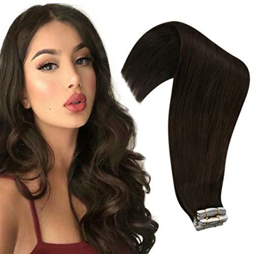 Tape in Human Hair Extensions Dark Brown Tape in Extensions Human Hair Skin Weft Tape in Extensions Dark Brown 16inch 20pcs 50g