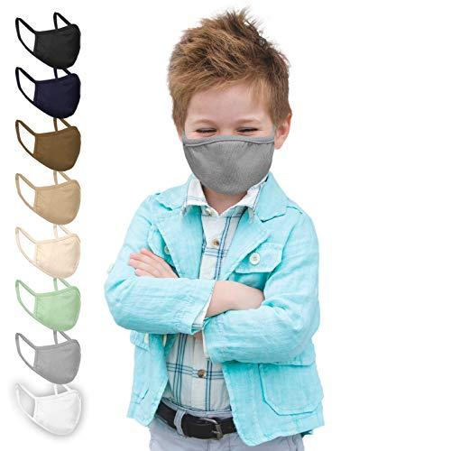 Jago® Gesichtsmaske für Kinder – 10er Pack, 3-8 Jahren, Reine Baumwolle, doppellagig, Atmungsaktiv, Filterfach, Farbwahl – Stoffmasken, Mund- Nasenschutz, Gesichtsschutz (Grau)