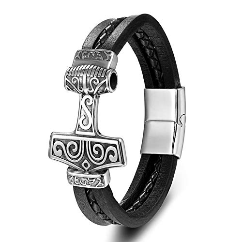 NICEWL Hombres de Acero Inoxidable Viking Wolf Head Thor's Hammer Amuleto Brazaletes,Unisex Fenrir Mjolnir Pulsera Trenzada de Cuero Vintage Joyería Escandinava,Style b