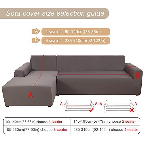 papasgix Copridivano con Penisola Elasticizzato Chaise Longue Sofa Cover Componibile in Poliestere a Forma di L 2 Pezzi, Fodere per Divano Angolare(1 Posto + 2 Posti, Grigio Fumo)