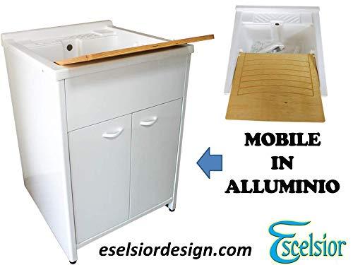 Mobile lavatoio per lavanderia,PREMIUM, in alluminio, diverse misure, H83 cm,+ sifone in omaggio, bianco, da esterno, lavatoio in resina top line, moderno. Escelsior (L60 x P60 x H83, 60)