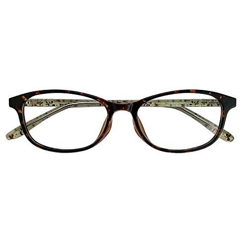 遠近両用メガネ TRフローレット AL-1133 (デミ) (レディースセット) 全額返金保証 境目のない 遠近両用 老眼鏡 (瞳孔間距離:63mm〜65mm, 近くを見る度数:+3.0)