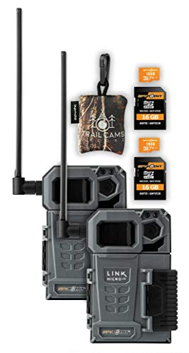 SPYPOINT Link-Micro-LTE Cellular Trail Camera Twin Pack with SD Cards and Spudz Microfiber Cloth Screen Cleaner (Link-Micro-LTE-V)