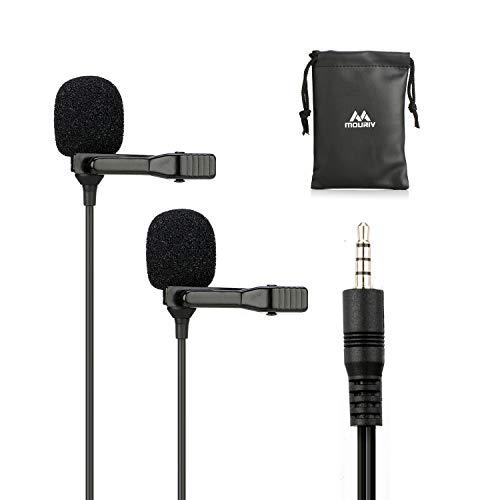 Microfono Lavalier a doppia testa, Mouriv Microfono a condensatore omnidirezionale professionale con risvolto professionale per iPhone, Android, PC, Registrazione Youtube, Intervista, Podcast