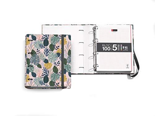 Miquelrius - Carpebloc - Carpeta Archivador con 4 Anillas + Recambio 100 Hojas A4 con cuadrícula 5mm, Papel 70 g, Diseño Jungle