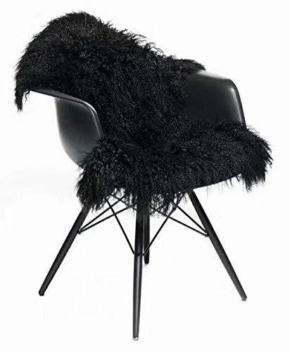 Seek4comfortable Genuine Tibetan Rug, Mongolian Lamb Sheepskin Curly Fur Pelt Throw Fur Area Rug Carpet Chair Cover with Super Fluffy Thick Decorativeas Throw Rug in Bedroom, Living Room,Black