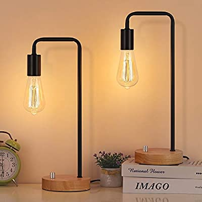 Edison Table Lamps Set of 2, Industrial Table Lamp, Bedside Nightstand Small Minimalist Wood Rustic Reading Desk Light for Bedroom, Living Room, Office, Dorm - Black