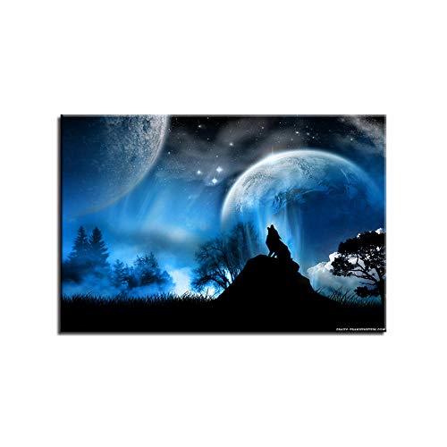 ZXYJJBCL Arte De Pared De Pintura Individual para Obras De Arte Modernas para Sala De Estar Comedor Decoración del Hogar Regalo De Decoración Lobo Bajo El Cielo Estrellado Azul 30x40cm Framed