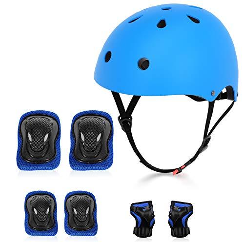 YUFU Kids Protective Gear Set Adjustable Toddler Bike Helmet for Kids Boys Girls with Sports Knee Elbow Wrist Pads for Bicycle Skateboard Hoverboard Rollerblading Kids Helmet 3-13 Years Old(Blue, m)