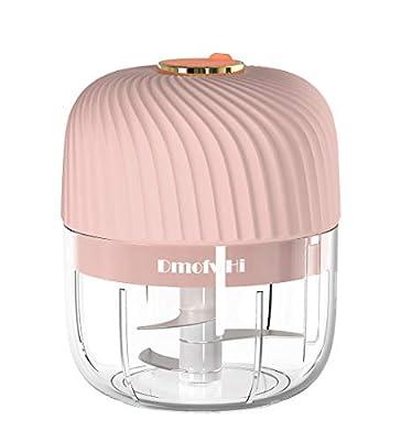 DmofwHi Cordless Mini Electric Chopper 250ML ,Powerful Garlic Press Chopper,Food Grinder,Masher,Blender, for Ginger, Onion,Chili,Portable Food Processor - Pink