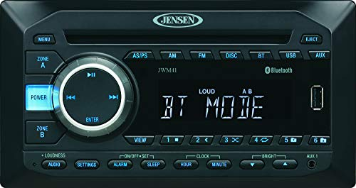 Jensen JWM41 2-Speaker Zones AM/FM|DVD|CD|USB|AUX| Bluetooth Wallmount Stereo, Speaker Output 4X 6 Watt, Plays: CD, CD-R, CD-RW, DVD, DVD+RW, DVD-RW, DVD-Video, MPEG-4, VCD, JPEG, CD-DA, MP3, WMA