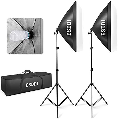 ESDDI Softbox Photography Lighting Kit 800W Continuous Lighting System Photo Studio Equipment with 2 x E27 Socket Lighting Bulbs and 2 Reflectors 50 x 70cm for Portraits Fashion Shooting