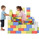 GIGI, Bloques de Construcción Gigantes de Cartón, Juegos de Construcción para Niños, 200 Piezas XXL, Kits de Ladrillos para Grandes Construcciones Infantiles de Castillos y Torres Grandes, Vistoso