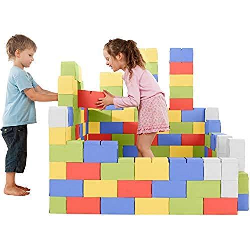 GIGI Bloks Bloques de Construcción Gigantes de Cartón | Juegos de Construcción para Niños 200 Piezas XXL Color | Kits de Ladrillos para Grandes Construcciones Infantiles de Castillos y Torres Grandes