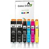 Colour Direct - 1 Impostato + 1 Nero Compatibile Cartucce d'inchiostro Sostituzione Per Canon PGI-580 CLI-581 TR7550 TR8550 TS6150 TS6151 TS6250 TS6251 TS8150 TS8151 TS8152 TS8250 TS8251 TS8252 TS9150
