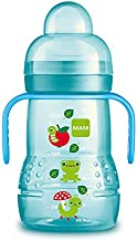 MAM Trainer Cup (1 Count), Trainer Drinking Cup with Extra-Soft Spout, Spill-Free Nipple, and Non-Slip Handles, for Boys 4+ Months, Eight Ounces, Blue