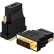 Rankie DVI to HDMI Adapter, Gold-Plated Converter, 2-Pack, Black