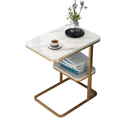 LICHUAN Mesa auxiliar de mármol, mesa de centro redonda pequeña con marco de metal, para espacios pequeños, mesa auxiliar de salón (color dorado y blanco)