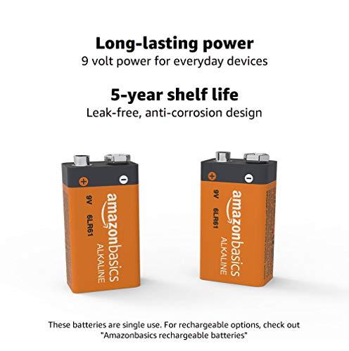Amazon Basics 4 Pack 9 Volt Performance All-Purpose Alkaline Batteries, 5-Year Shelf Life