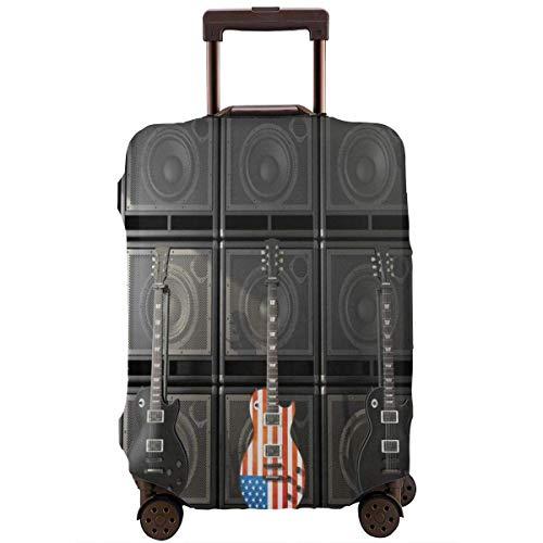 Maleta de viaje Protector de bandera americana US Bass Guitar Rock Equipaje Cubierta protectora Travel Trunk Maleta elástica Protector Cubiertas para equipaje de 45 a 51 cm