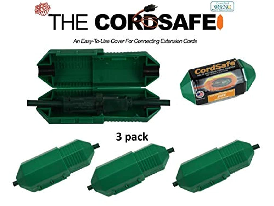 3pk Green Extension Cord Safety Cover with Water-Resistant Seal for Cord Fastening, Cord Retention and Management