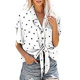 Femmes Mode Élégant Col V Manches Courtes Imprimé à Pois Chemises Noeud Papillon Ourlet Top Blouse Bringbring