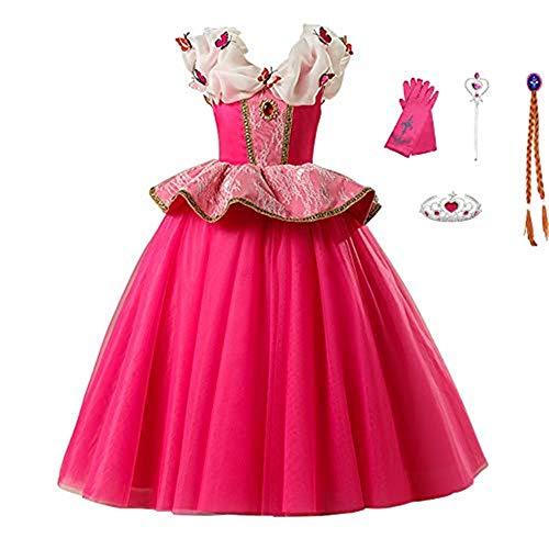 FINDPITAYA Nias Disfraz de Bella Durmiente Costume Guantes Baguette Corona Trenza Mariposas Princesa Auro Cosplay Vestido Halloween Navidad Regalo (120)
