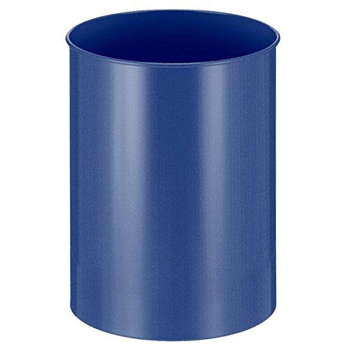 Corbeille à papier ronde, métal, bleu, 30 L