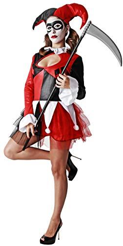 Gojoy shop- Disfraz de Arlequín para Mujeres Halloween Canaval (Contiene Vestido y Gorro, Talla Unica)